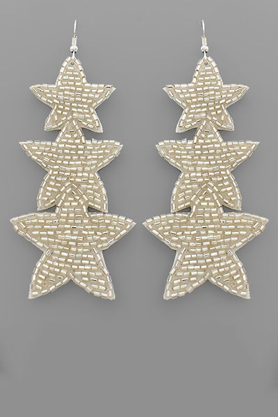 BEADED TRIPLE STAR EARRINGS - 2 COLORS