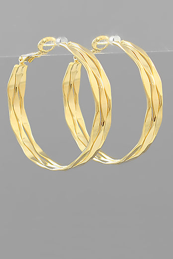 MARQUISE ROW GOLD HOOPS