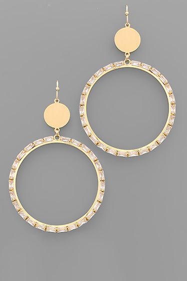 CIRCLE BAGUETTE BEAD EARRINGS