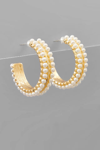 2 ROW PEARL HOOPS