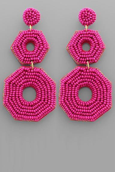 FUCHSIA OCTAGON BEADED EARRINGS