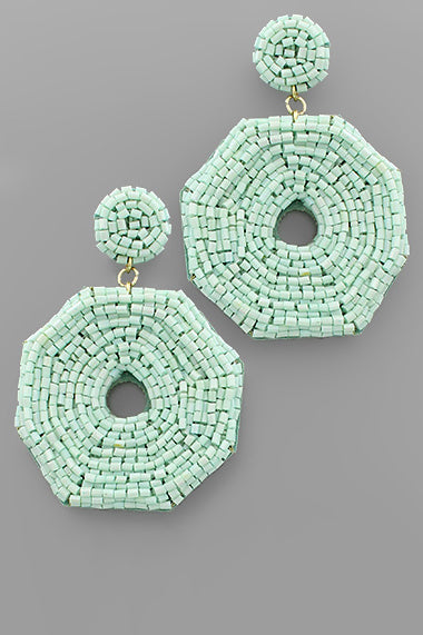 BEAD OCTAGON EARRINGS - 3 COLORS