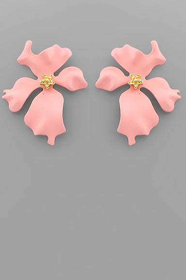 COAT WAVY FLOWER EARRINGS
