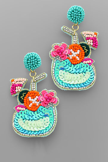 TURQUOISE BEADED COCKTAIL EARRINGS