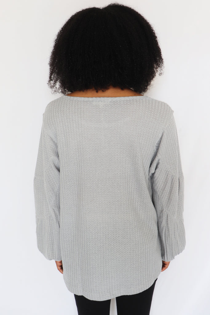 GOING FOR IT WAFFLE KNIT TOP | IN LOOM Blu Spero online shopping