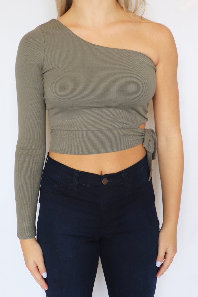 WHISPER IN YOUR EAR OLIVE ONE SHOULDER TOP | ILLA ILLA Blu Spero online shopping