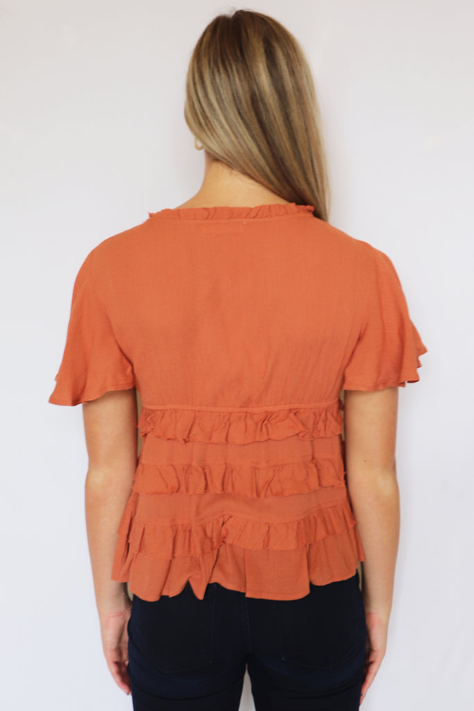 FALL COLORS RUFFLE TOP | ILLA ILLA Blu Spero online shopping