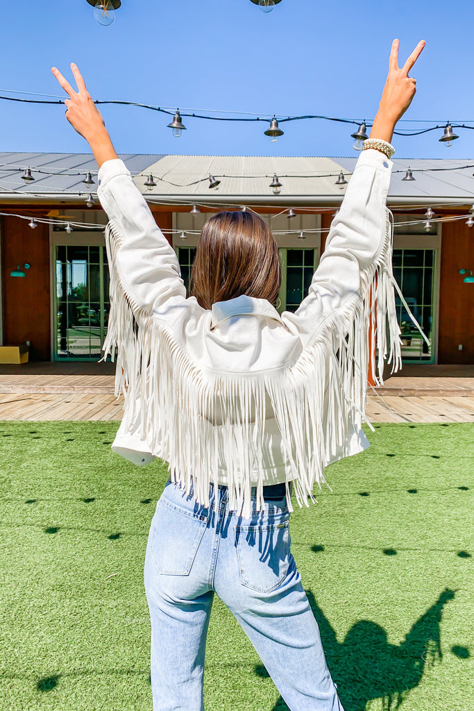 THE WESTERN STAR FRINGE WHITE DENIM JACKET