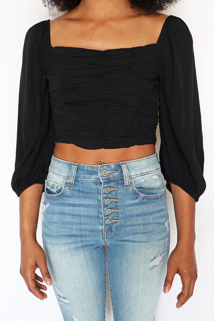 CALL ME RUCHED BLACK CROP TOP | LE LIS Blu Spero online shopping