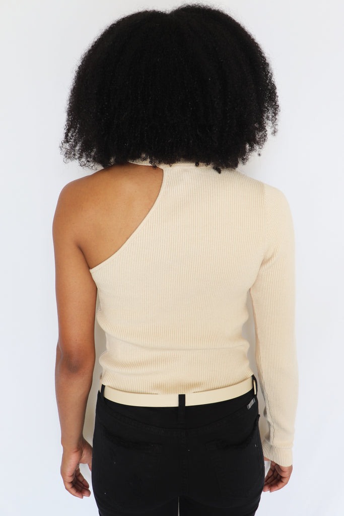 CHAMPAGNE PROBLEMS ONE SHOULDER SWEATER | LE LIS Blu Spero online shopping
