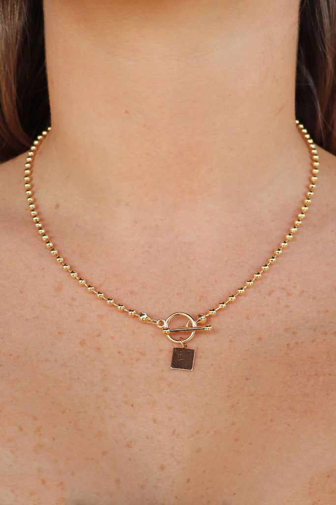 SQUARE TOGGLE BALL NECKLACE