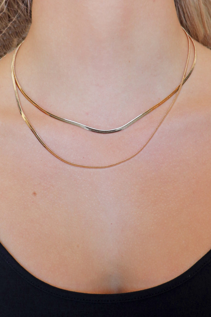 LAYERED GOLD SNAKE  NECKLACE | MERVEILLE Blu Spero online shopping