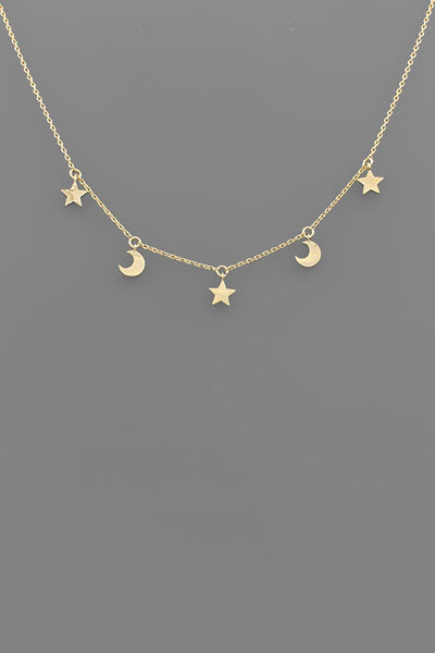 MULTI STAR + MOON NECKLACE