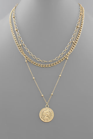 ELIZABETH II COIN MULTI LAYER NECKLACE