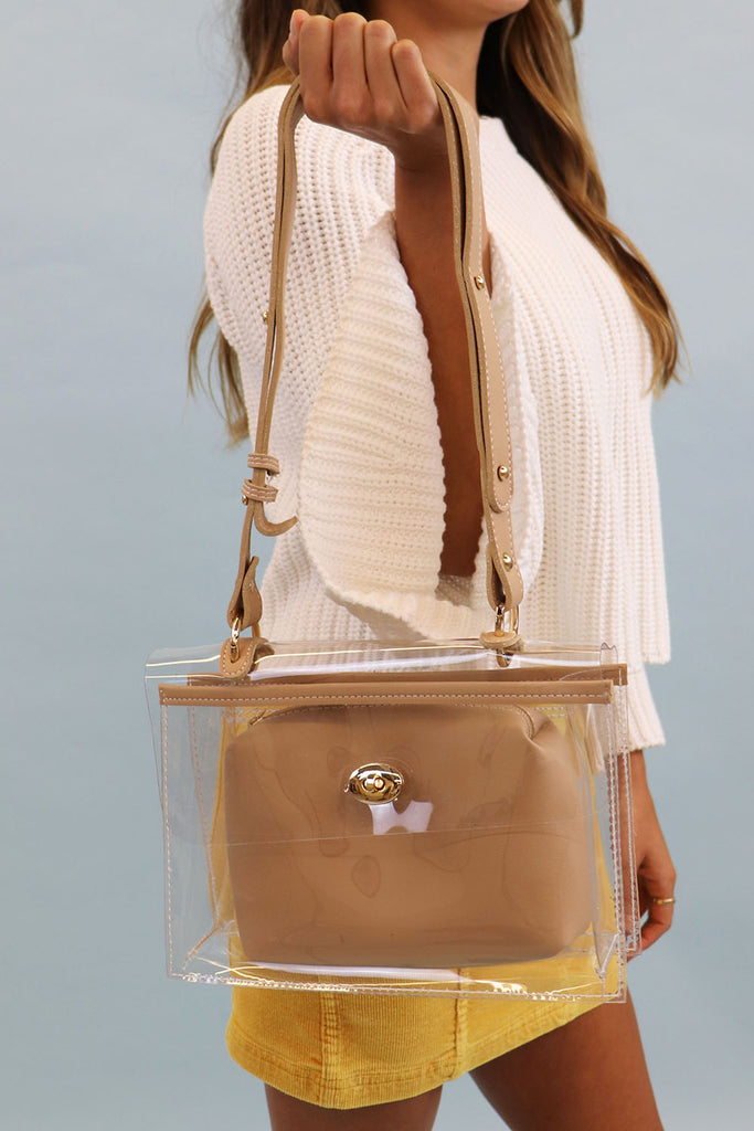GAMEDAY CLEAR TAN HANDBAG