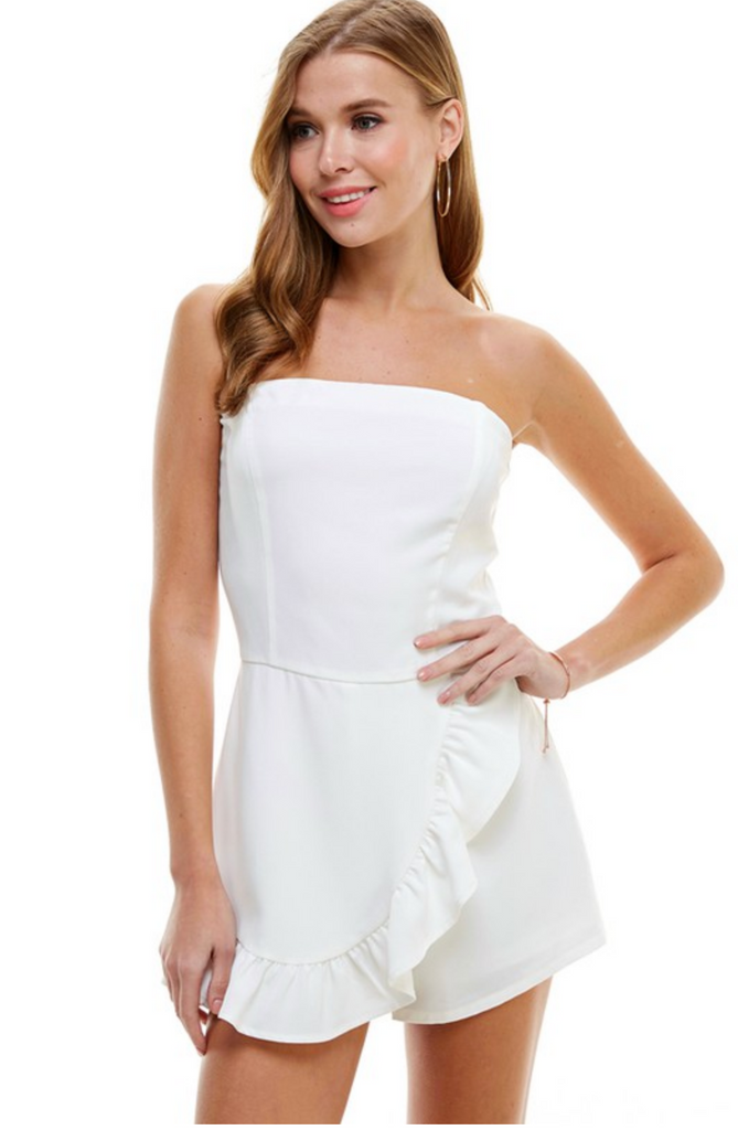 LET'S RUFFLE AROUND WHITE ROMPER | TCEC Blu Spero online shopping