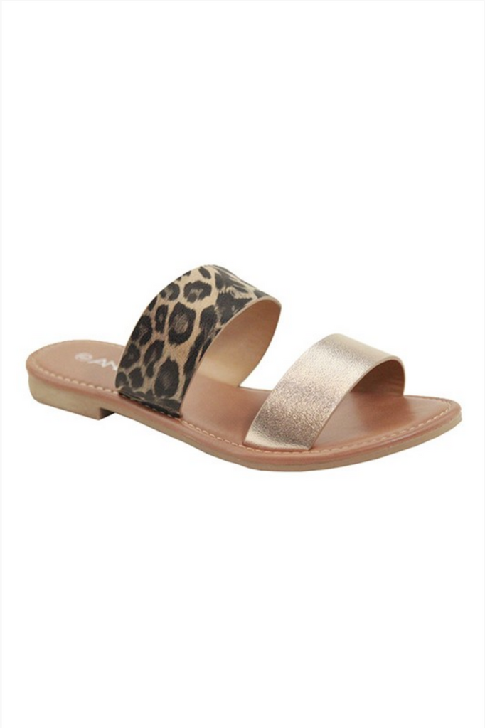 ROSIE TWO STRAP LEOPARD SANDALS
