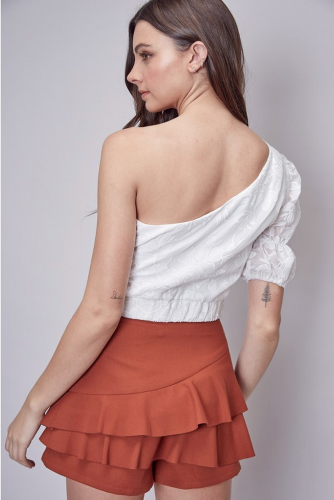 PETALS AND PINO ONE SHOULDER TOP | DO + BE Blu Spero online shopping