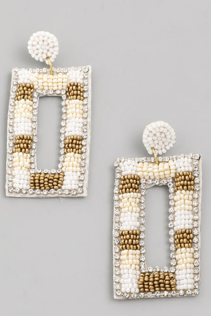 NEAUTRAL BEADED RECTANGLE EARRINGS