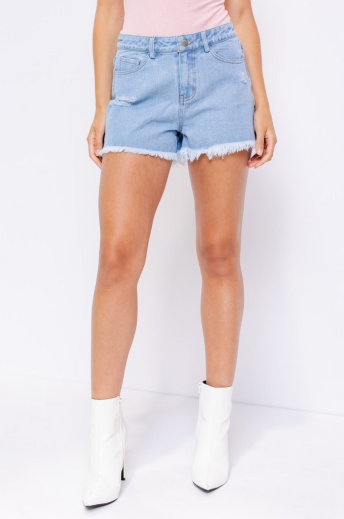 ON THE SUNNY SIDE DENIM SHORTS | LE LIS Blu Spero online shopping