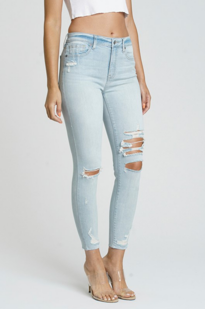 LOSE CONTROL HIGH RISE SKINNY JEANS