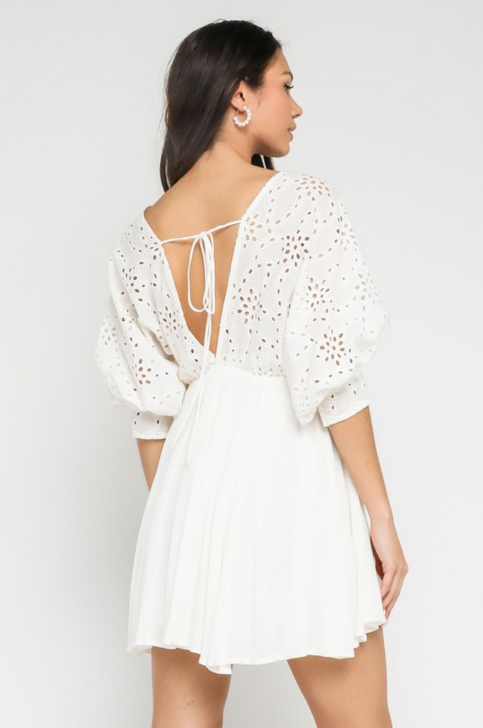 LIVE YOUR DREAM EYELET LACE DRESS | Olivaceous Blu Spero online shopping