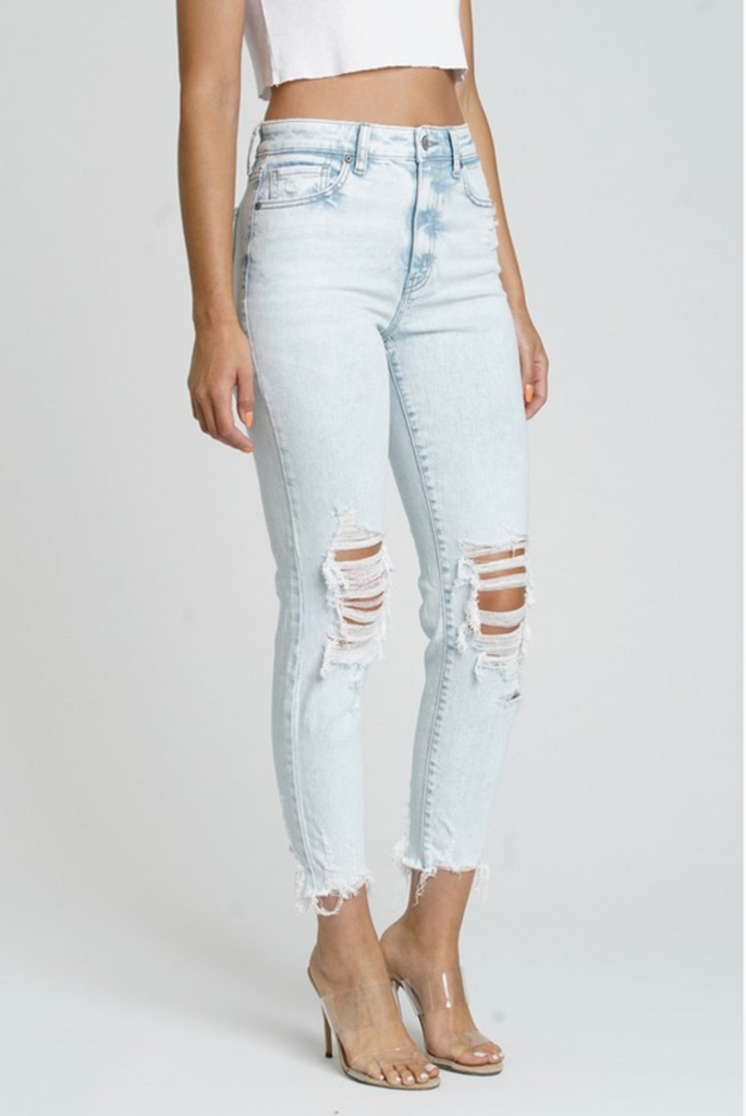 RECHARGED DISTRESSED HIGH RISE JEANS | EUNINA Blu Spero online shopping