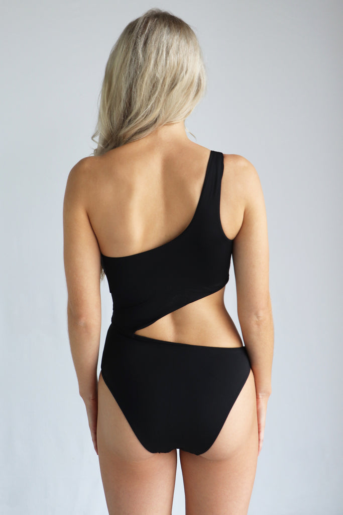 Black One Shoulder One Piece