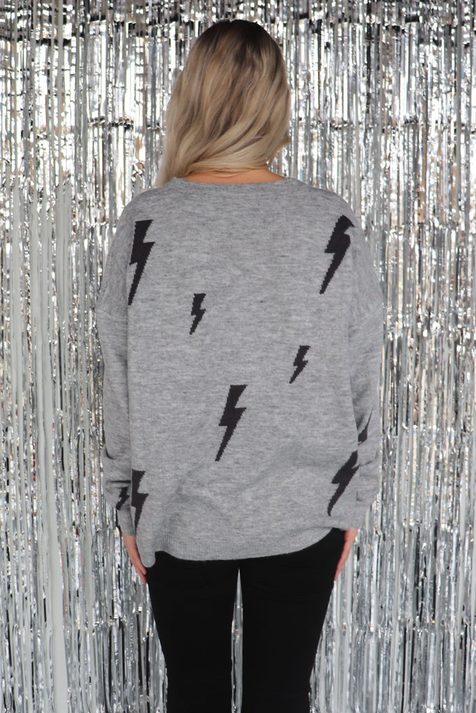 LIGHTNING STRIKES AGAIN GREY SWEATER
