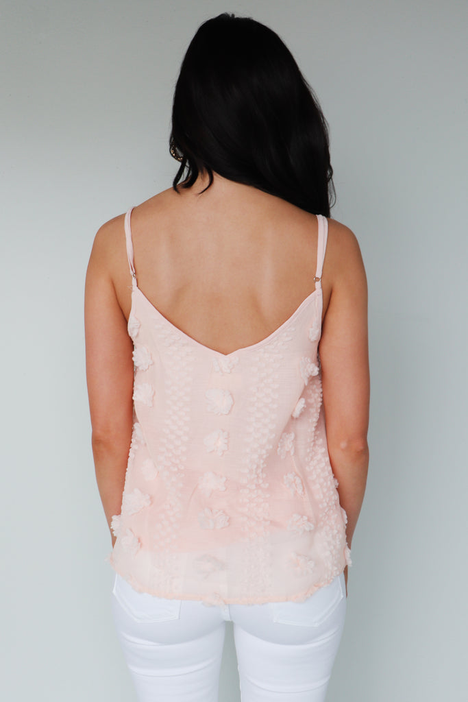 Pom pom blush tank top
