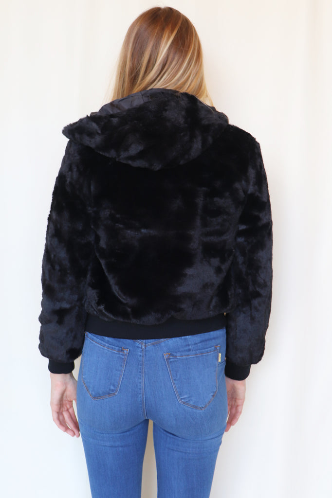 NEW ORLEANS BLACK FUR JACKET | Love Tree Fashion Blu Spero online shopping