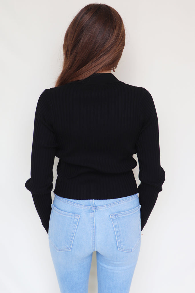 FIND OUT BLACK CROP CARDIGAN