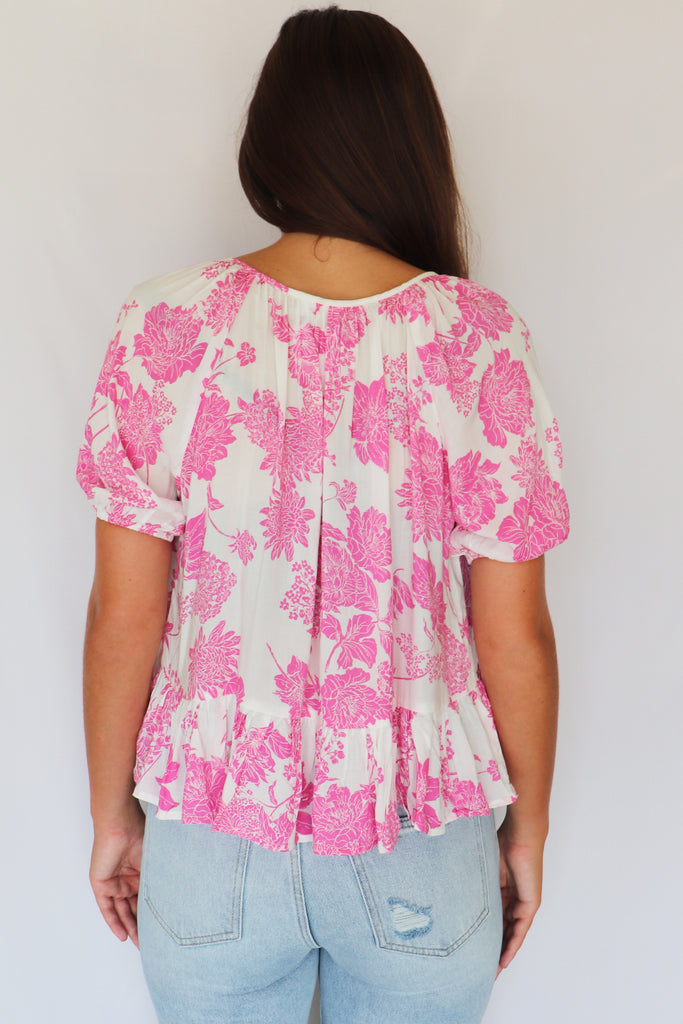 BLOOMING SUMMER PINK FLORAL TOP | SKYLAR+MADISON Blu Spero online shopping