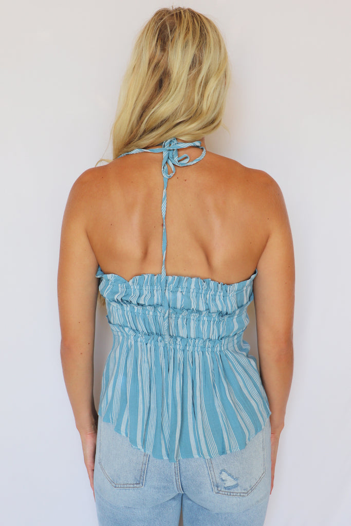 WONDERLAND STRIPED HALTER TOP | SKYLAR + MADISON Blu Spero online shopping