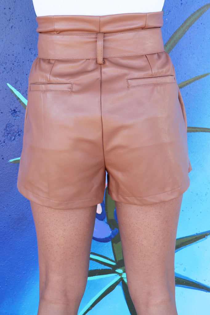 IS THE END LEATHER BELTED SHORTS | Olivaceous Blu Spero online shopping