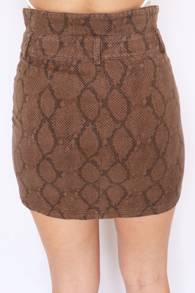 RAIN ON ME PYTHON MINI SKIRT | LE LIS Blu Spero online shopping