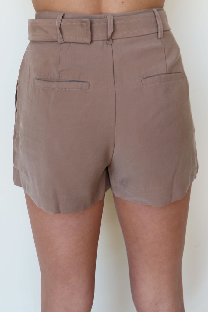 GIVE ME ANSWERS KHAKI SHORTS | Olivaceous Blu Spero online shopping