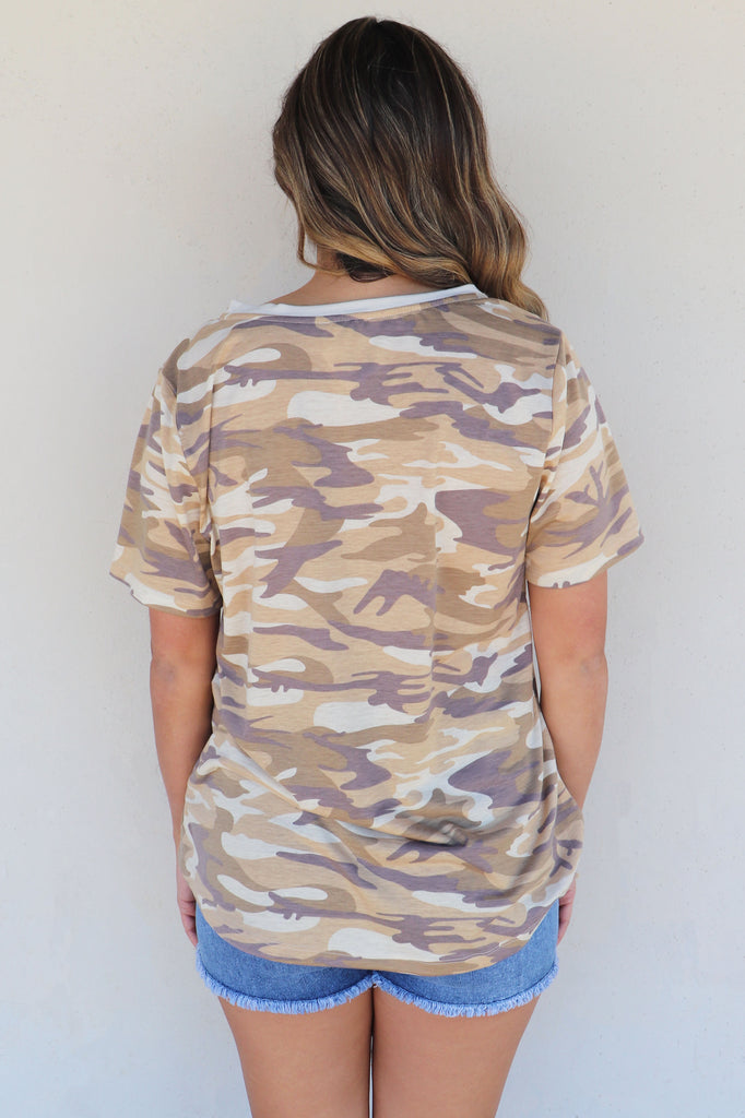 IN MY ZONE CAMO TEE | KORI AMERICA Blu Spero online shopping