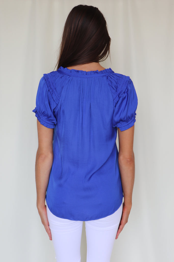 JEALOUSY BLUE SHORT SLEEVE BLOUSE