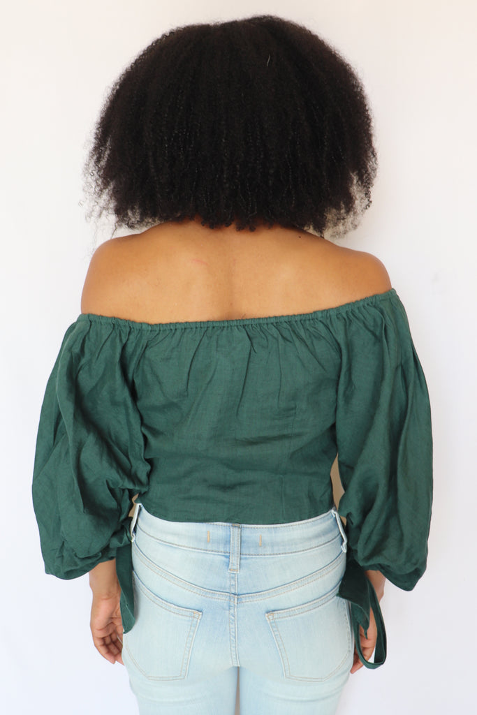 SAY HELLO HUNTER GREEN CROP TOP | Olivaceous Blu Spero online shopping