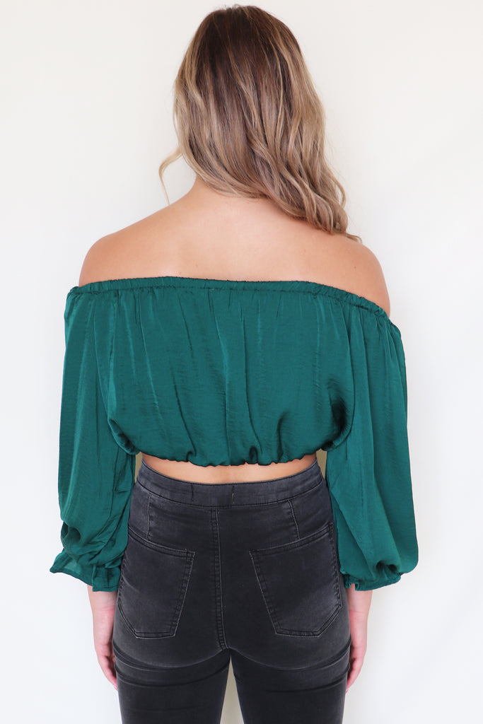 SEA BREEZE SATIN CROP TOP | SHE + SKY Blu Spero online shopping