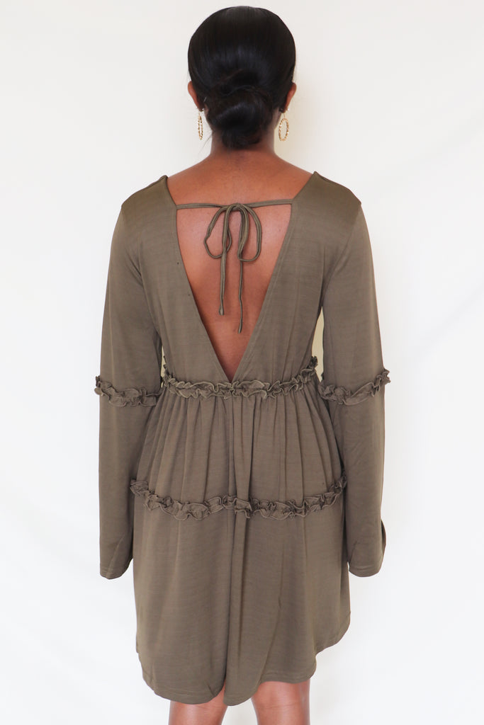 MAKE TODAY COUNT OLIVE DRESS | THE SANG CLOTHING Blu Spero online shopping