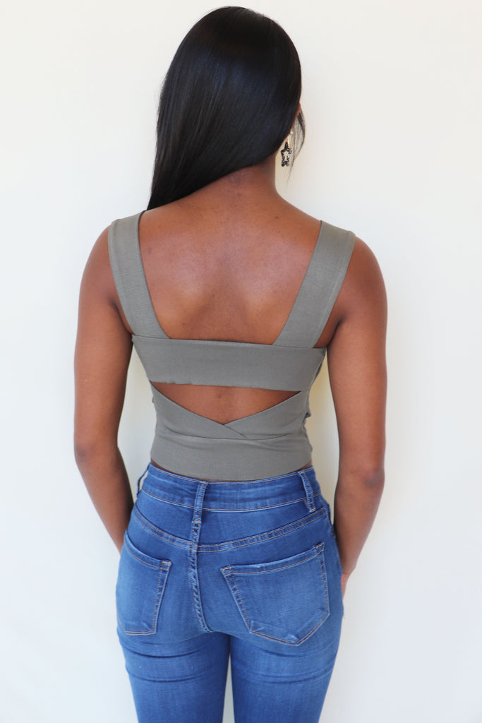 OLIVE RIBBED SQUARE NECK CROP TOP | ILLA ILLA Blu Spero online shopping