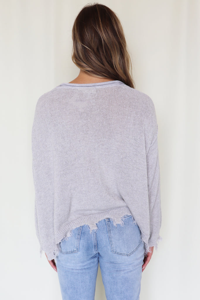 BREAK THE RULES FRAYED GREY SWEATER | Peach Love Blu Spero online shopping