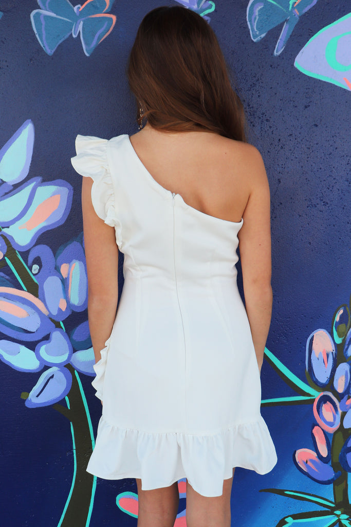 TO REMEMBER RUFFLE WHITE DRESS