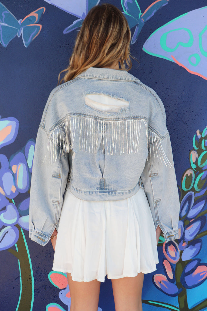 OLD FRIEND RHINESTONE FRINGE JACKET