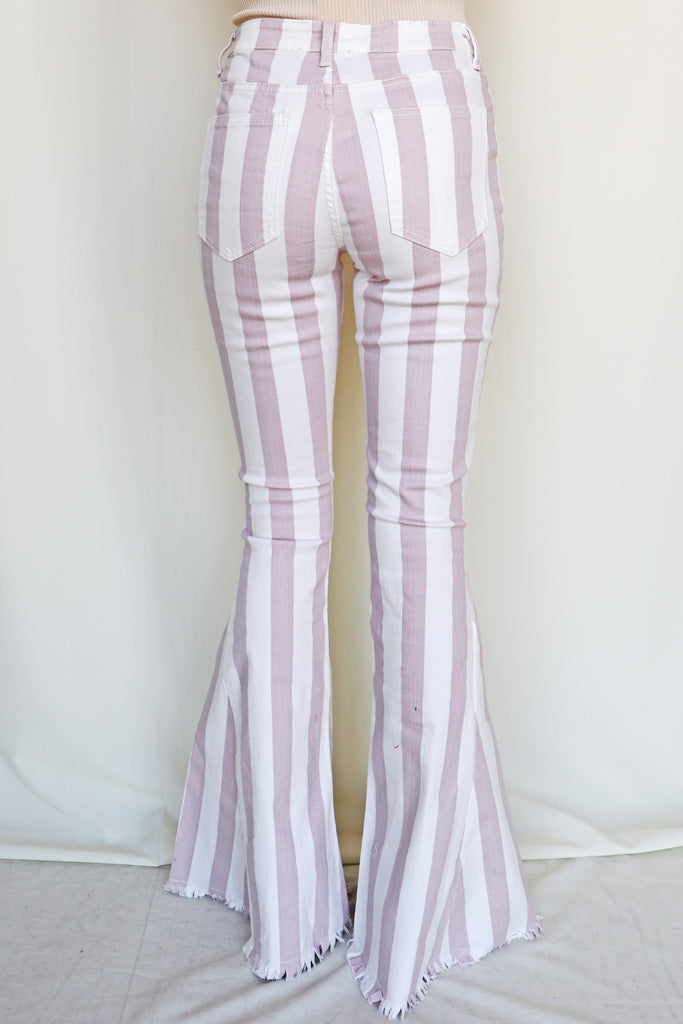 MAD LOVE STRIPED BLUSH FLARE JEANS