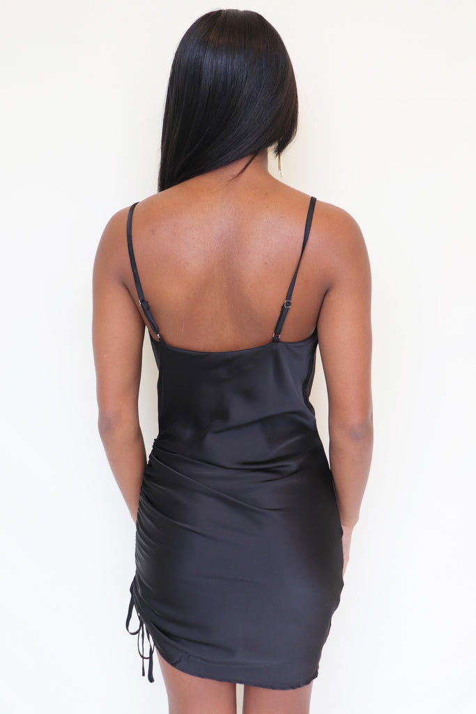 A NEW LEVEL BLACK SATIN SLIP DRESS | CLOUD TEN Blu Spero online shopping