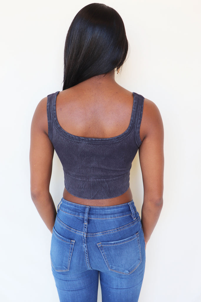 VINTAGE CHEVRON CROP TOP - 2 COLORS | NIKIBIKI Blu Spero online shopping