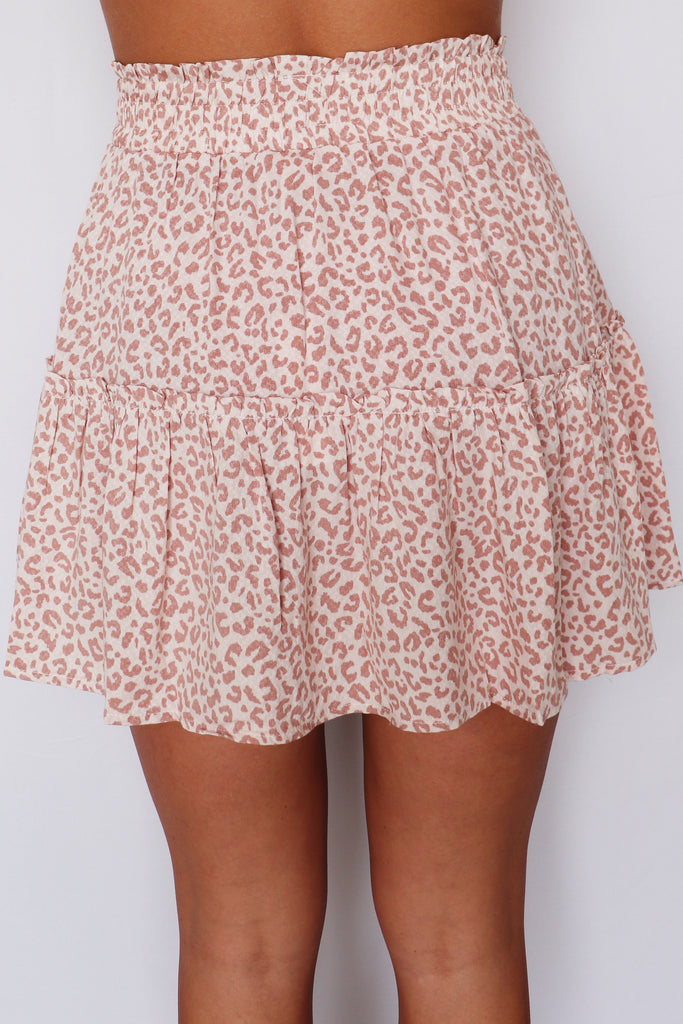UP IN FLAMES LEOPARD PRINT SKIRT